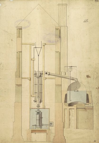 Front view of the engine and section of the boilers, Borough Water Works Date: 1796