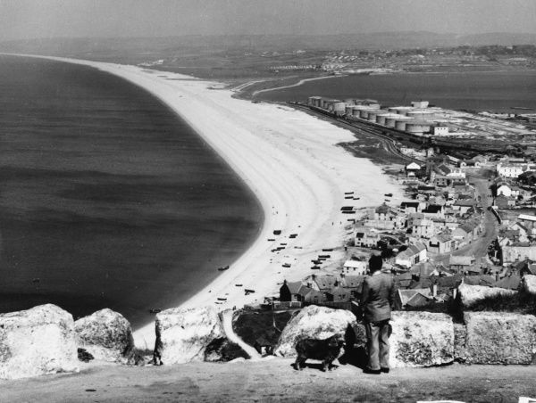 A glimpse of the famous Chesil Beach, Dorset, England, which is nearly eleven miles long