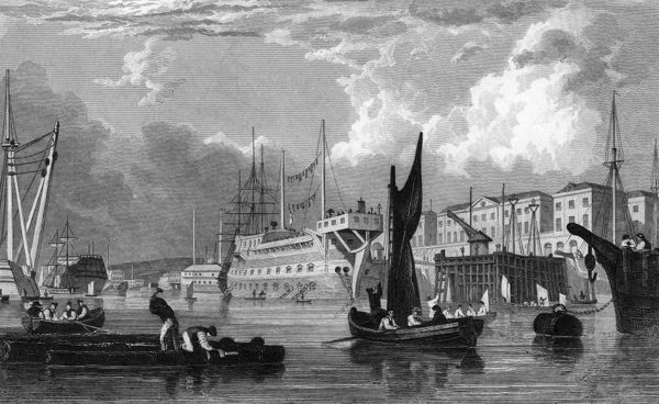 A general dock scene showing repairs, and sailors leaving and returning to their ships. Date: 1832