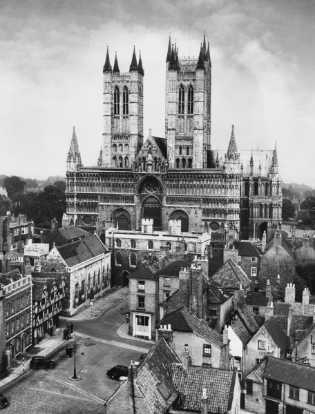 A fine overview of the city of Lincoln, England, with its majestic cathedral, first founded by the Norman Bishop Remigius in 1086