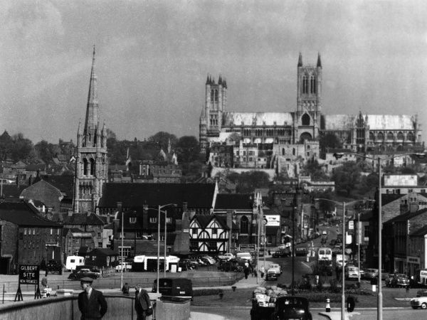 A general view of the city of Lincoln, the county city of Lincolnshire, England. The fine cathedral on the hill dominates this fine city. Date: 1950s