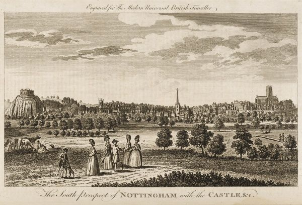 The south prospect of Nottingham with the castle visible in the background