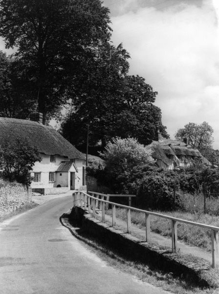 Lovely thatched cottages in the village of Rampisham (pronounced Ramson), Dorset, England. Date: 1950s