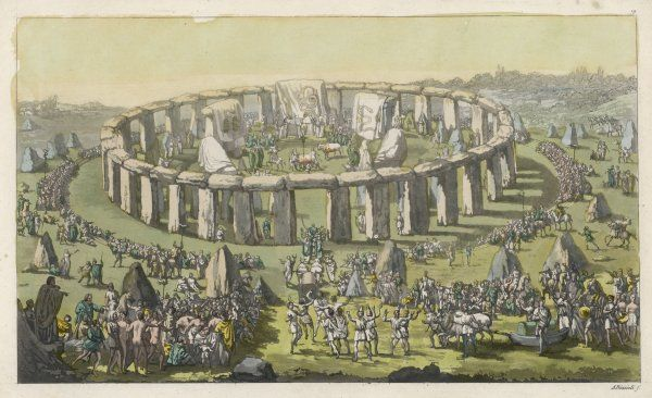 Celebrating a grand conventional festival at Stonehenge : priests and bards perform their functions, oxen drag the Avane, containing a monster from the lake
