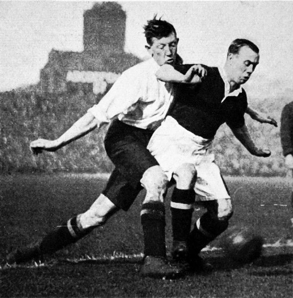 Photograph showing Hill of England (left) and Gallacher of Scotland fighting for possession during the British International Championship of 1926