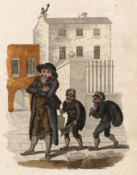 A London chimneysweep offers his services - or rather, those of his two lads who will go down the chimneys getting rid of the accumulated soot which they cart away in sacks
