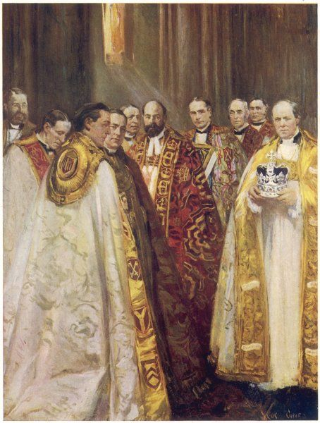 The Archbishops of Canterbury and York, together with other top English clergy, at the coronation of George V