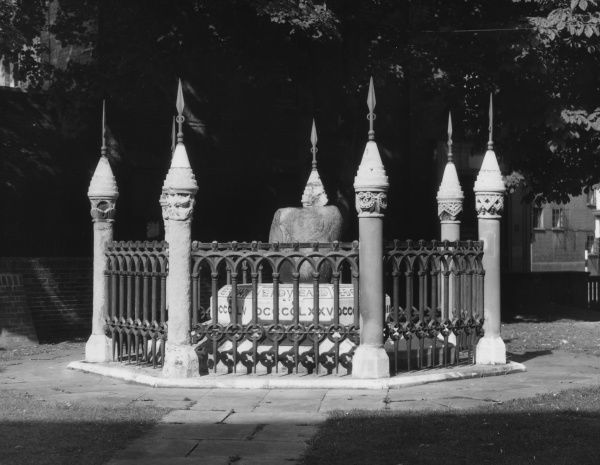 The English Coronation Stone, Kingston-upon-Thames, Surrey, dating back to 901. Alfred the Great's son Edward the Elder was the first of seven Saxon kings to be crowned on it