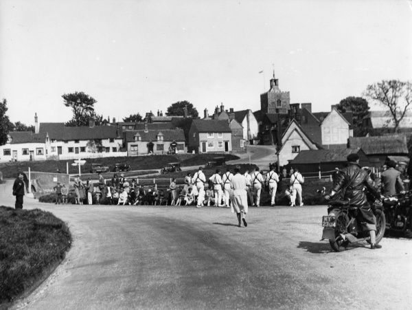 Old English folk dancing in the lovely village of Finchingfield, Essex, England. Date: circa 1940