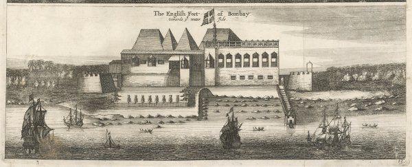 The English fort at Bombay in the 17th century - the view from the water side