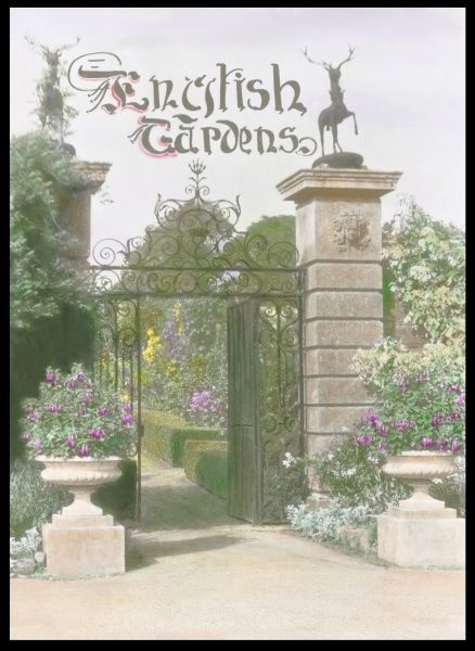 Title image for an English Gardens magazine, depicting an unidentified garden with a grand-looking gateway