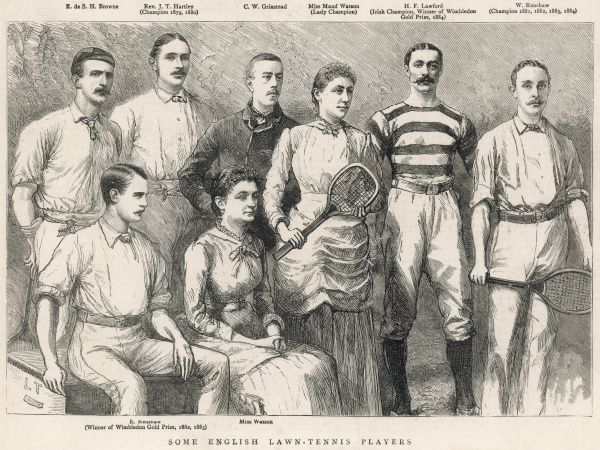 A group of English tennis players. From left at top: E. d S. H. Browne, Rev. J. T. Hartley (Wimbledon Champion 1879, 1880), C. W. Grinstead, Miss Maud Watson (Lady Champion, 1884), H. F. Lawford (Irish Champion, Winner of the Wimbledon Gold Prize, 1884), W