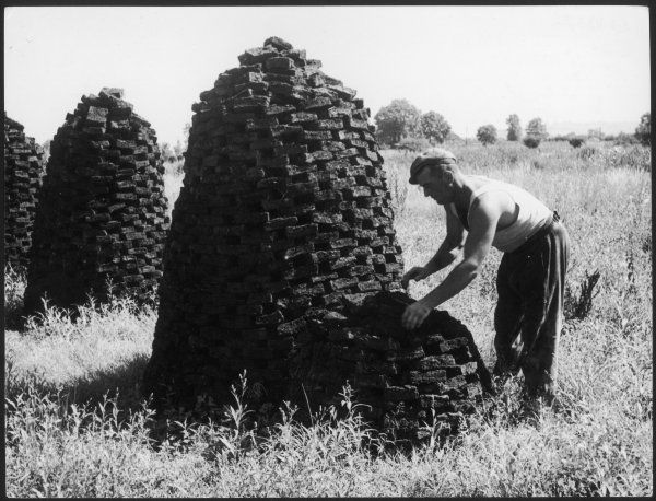The peat industry in England, here on the Moors, near Glastonbury, Somerset. This workman is building up a 'ruccle' from a 'hyle'. The pyramid has 800 'turves&#39