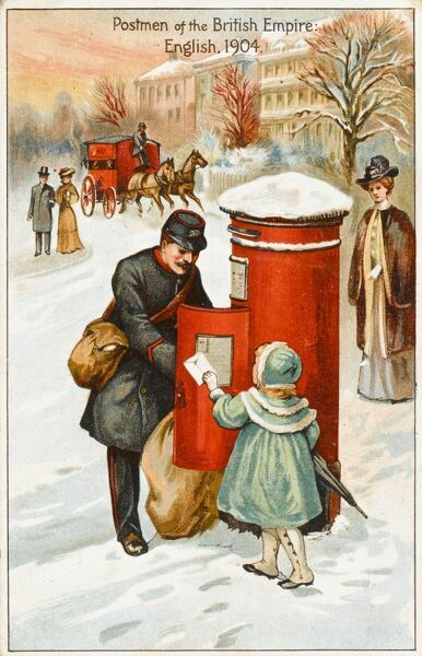 A postman collects the mail from a red letterbox on a snowy winter morning