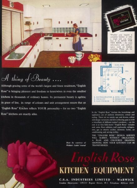 "Advertisement for a vibrant English Rose kitchen in red and white. English Rose kitchens apparently brought ""pleasure and freedom to housewives in even the smallest kitchens in thousands of ordinary homes&quot"