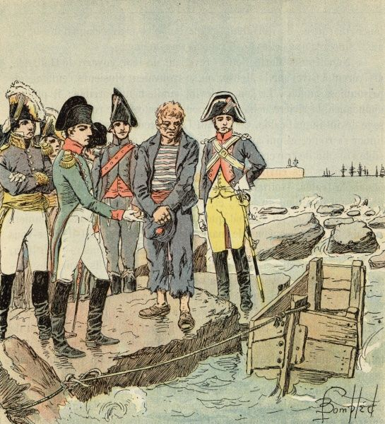 He questions a captured English sailor at the camp of Boulogne