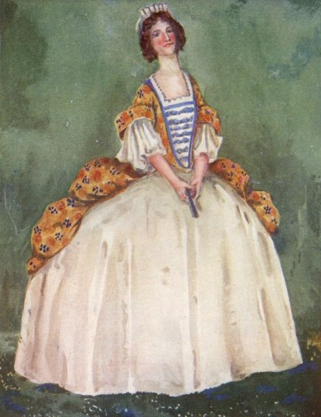 Hooped skirts are all very well, but this is ridiculous ! But it's what fashion dictates... for the moment Date: circa 1710