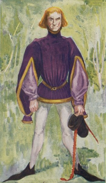 He wears a short belted high- necked tunic over his shirt and hose ; the ribbon on his hat is the relic of the once- fashionable liripipe