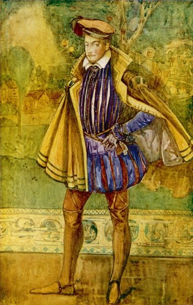 He wears the characteristic garments of the Elizabethan male - doublet with double linen collar where he might have worn a ruff : short cloak, elegant hose