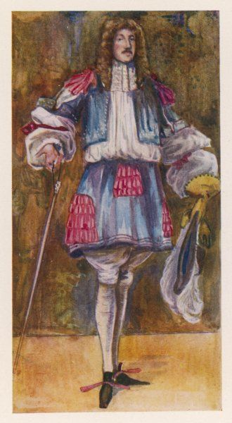 The Restoration and the permissive society favoured by Charles II are reflected in a new extravagance in dress, as in this gentleman's fancy petticoat, full sleeves etc