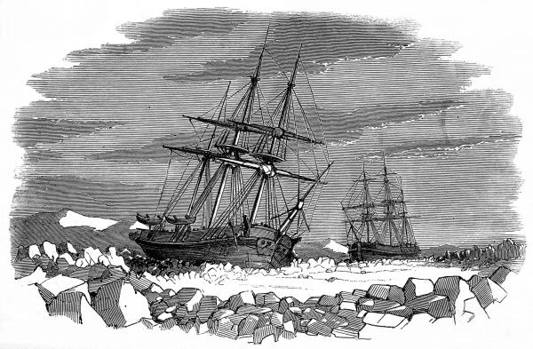 Engraving showing the 'Enterprise' and 'Investigator' surrounded by pack ice in Barrow's Straits, September 1849