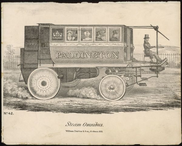 The 'Enterprise' Steam Omnibus, built by Walter Hancock of Stratford for the London & Paddington Steam Carriage Company, which began running on 22 April 1833