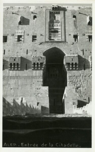 Entrance to the 13th century Citadel, Aleppo, Syria Date: circa 1920s