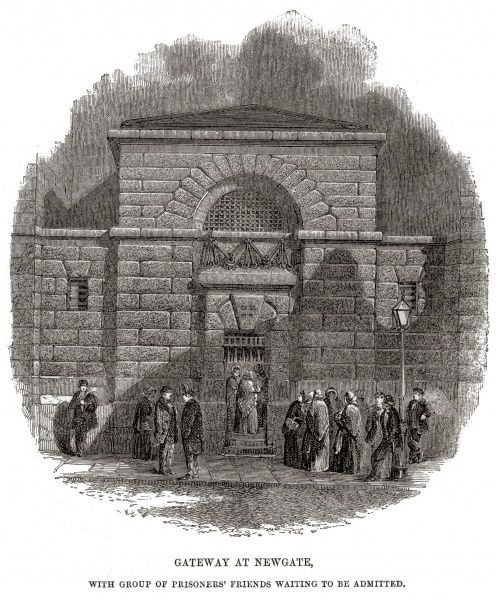 Entrance gate with visitors awaiting admission at Newgate Prison, London. Date: 1862