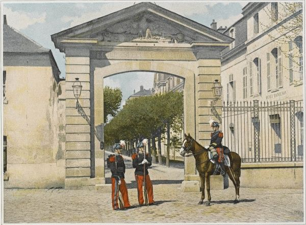 The entrance to France's leading military academy of Saint-Cyr, founded by Napoleon I and located near Fontainebleau (since then it has been relocated)