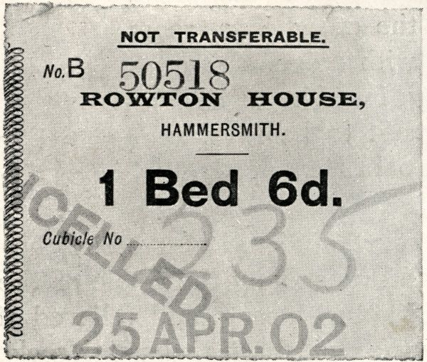 An entrance ticket for a Rowton House in Hammersmith, West London