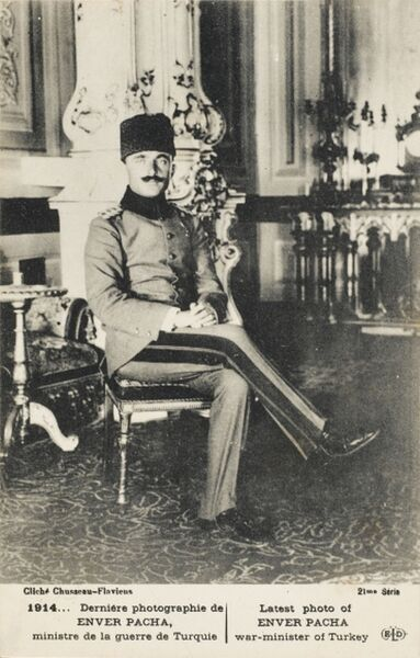 Ismail Enver Beyefendi (1881 - 1922), known to Europeans during his political and military career as Enver Pasha (Turkish: Enver Pasa) or Enver Bey was a Turkish military officer and a leader of the Young Turk revolution