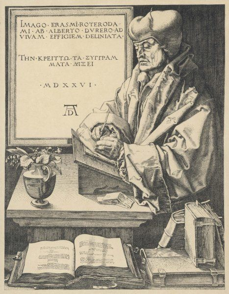 DESIDERIUS ERASMUS Dutch humanist writing, surrounded by his books