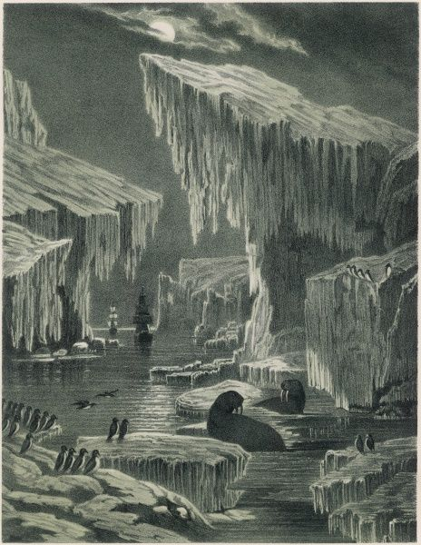 Scene from Sir John Franklin's Canadian Arctic exploration, showing the 'Erebus' and 'Terror' in their attempt to navigate the Northwest Passage. Sadly, both ships and crew were lost