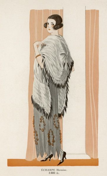 A woman in an ermine shawl with ermine tails used as fringing & a dress with a handkerchief hemline