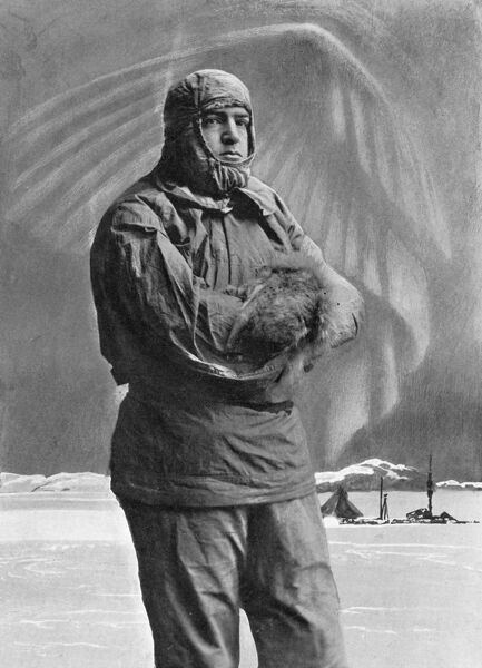 Sir Ernest Henry Shackleton (1874-1922), British explorer, dressed for Antarctic conditions. Shackleton made four expeditions to the South Pole during his career. This image commemorates his second, when he came within 97 miles of the South Pole
