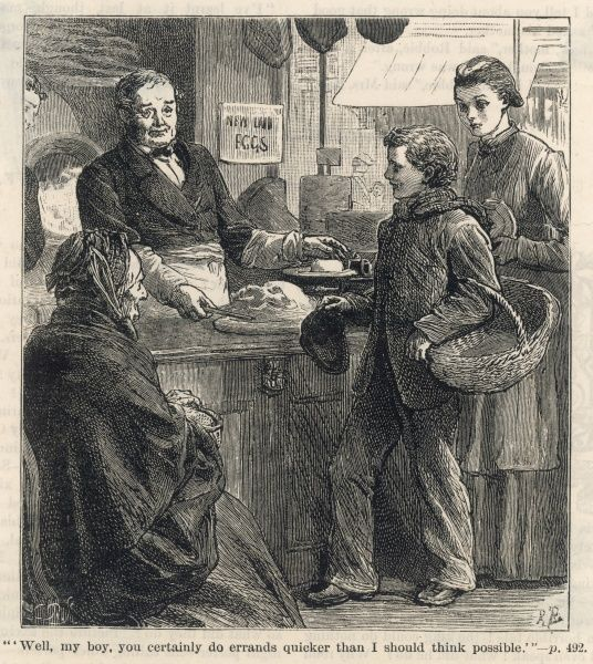 """Well, my boy, you certainly do errands quicker than I should think possible""; a grocer praises his errand boy's work"