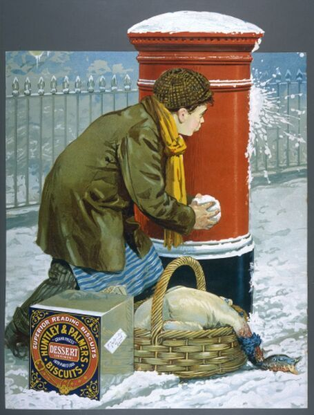 An errand boy, ambushed while making his deliveries, uses a pillar-box as protection