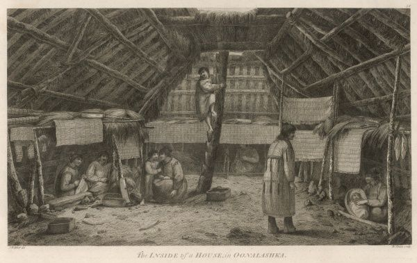 People of Unalaska, one of the Aleutian Islands (part of Alaska) - in their home, entered from above to conserve warmth. Bunks are arranged round the walls