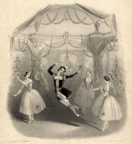 Scene from a ballet on a music cover for the Esmeralda Quadrilles by Charles W Glover. A male ballet dancer takes centre stage, with several ballerinas grouped round him. The scene depicted is from the ballet La Esmeralda by Cesare Pugni (1802-1870)