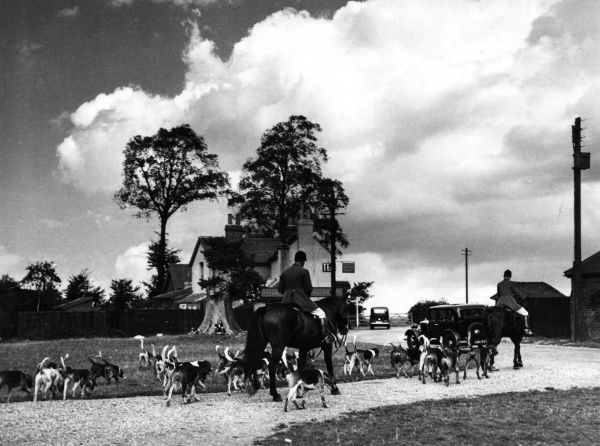 The Meet of the Essex Foxhounds, at Epping Green, Essex, England. Date: 1930s