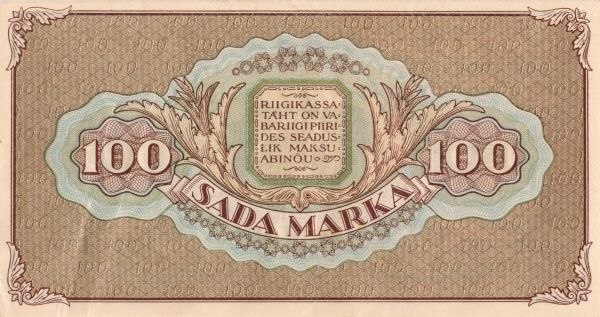 Back of an estonian banknote on 100 Franc Marka edited 1923. Date: 1923