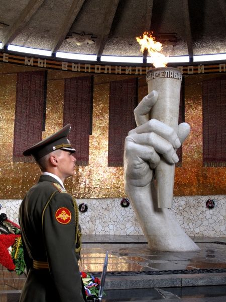 Russia, Volgograd (Zaryzin, Stalingrad). Battle of Stalingrad Memorial at Mamajev Kurgan Hill. The Memorial Hall of Honour with the Eternal Flame. Date: 2010