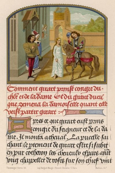 A French knight takes his leave from a Nobleman and his Lady