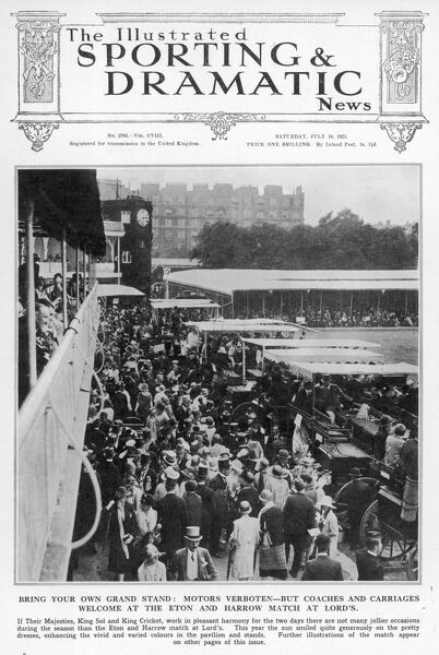 Spectators at the Eton versus Harrow cricket match at Lord's parade in front of the pavilion having alighted from their carriages