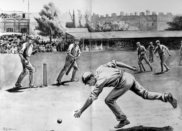 Illustration showing a shot being played by an Harrow batsman at the Eton vs. Harrow Cricket match of 1897. The original caption read: 'Eton v. Harrow - A cut for a single&#39
