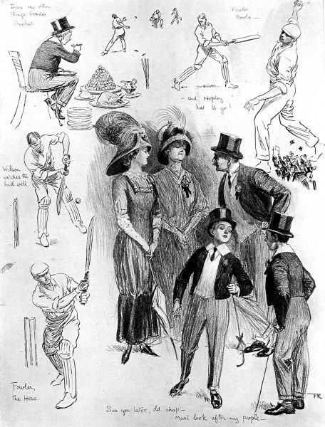 Sketches of a number of scenes at the Eton vs. Harrow cricket match, held at Lords Cricket Ground, London, July 8th and 9th, 1910