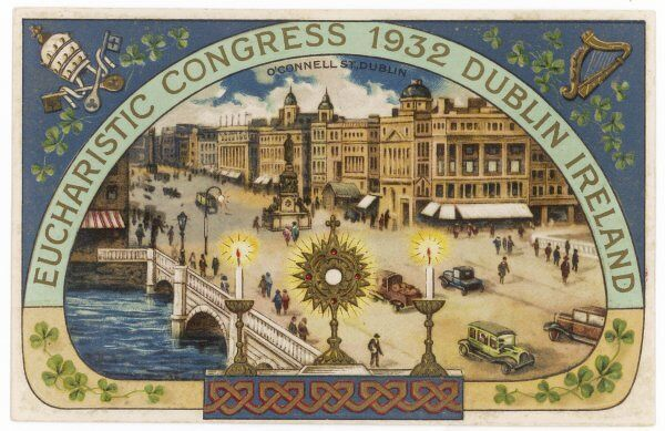 The EUCHARISTIC CONGRESS 1932 is held at Dublin, where O'Connell Street appears to be lit by holy candles in this souvenir postcard