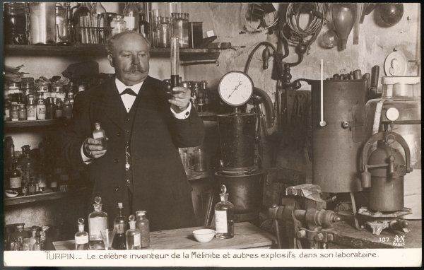 EUGENE TURPIN French scientist in his laboratory: he invented 'melinite', a form of gas warfare, as well as other explosives