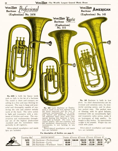 Three euphoniums (euphonia ?) from the Wurlitzer catalogue
