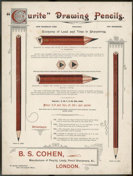 The 'Eurite' pencil has a triangular lead which can be sharpened so as to suit the needs either of draughtsmen or of ordinary folk like you and me